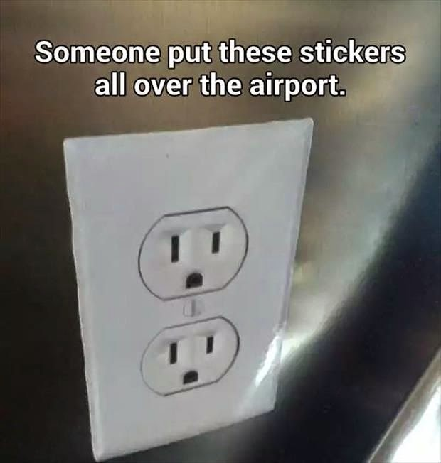 airport prank electrical outlet, charging devices