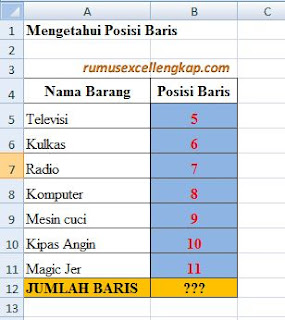 contoh data rumus ROWS