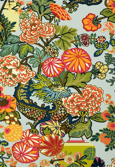 Chiang Mai Dragon fabric, Schumacher Fabric
