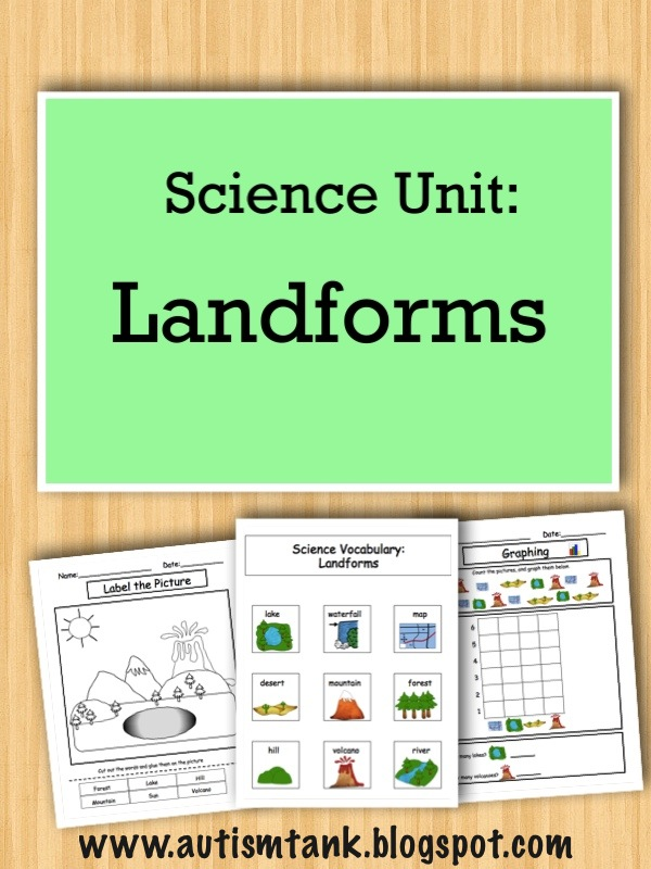 Autism Tank Product Preview Landforms Science Unit – Landforms Worksheets