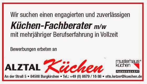 arbeitsmarkt inn salzach alztal k chen in burgkrichen sucht einen k chenberater m w. Black Bedroom Furniture Sets. Home Design Ideas