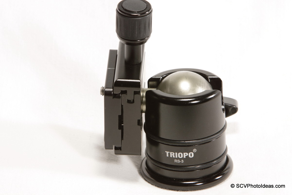 Triopo B-2 QR Clamp on Triopo RS-3 ballhead - portrait