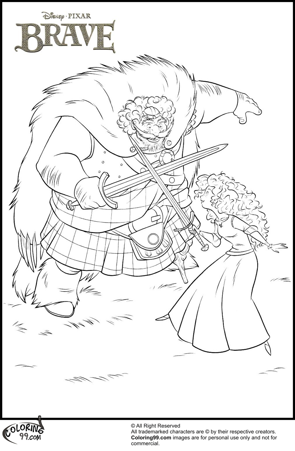 princess merida and king fergus coloring pages