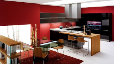 contemporary kitchen design in red and black