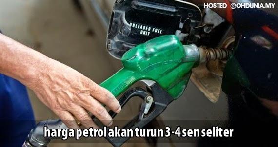 Harga Petrol Dijangka Turun Tiga atau Empat Sen Seliter Isnin Ini