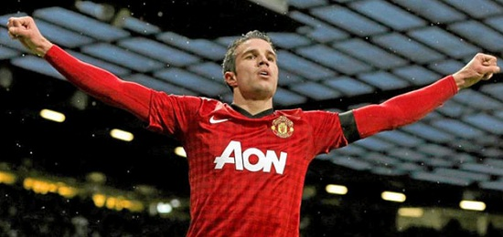 Robbie Van Persie with Man U red shirt to face Real Madrid