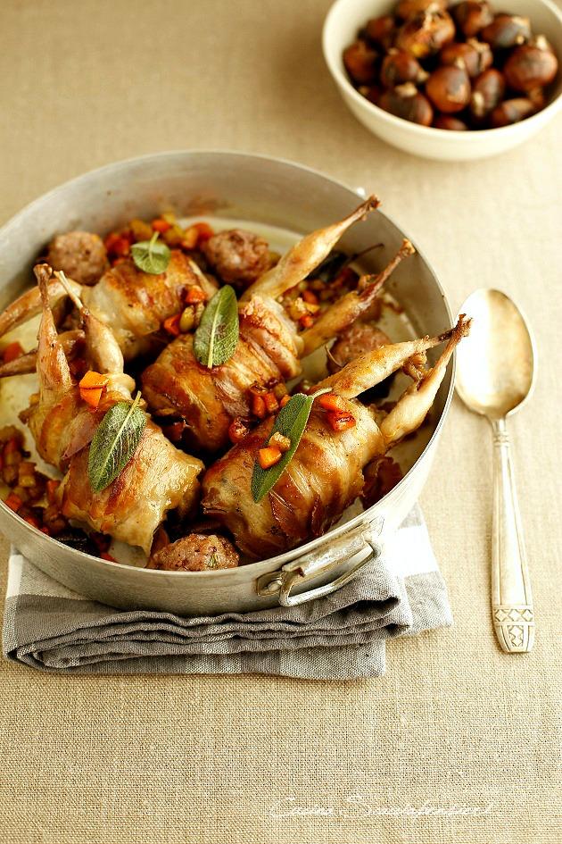 quaglie in padella con ripieno di salsiccia e castagne cucina scacciapensieri