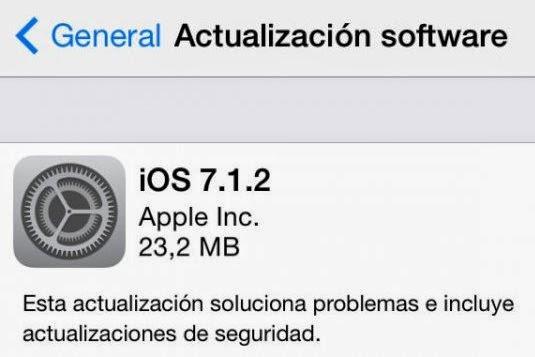Actualización iOS 7.1.2 disponible para su descarga