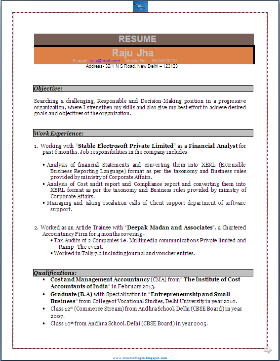 Resume Sample for Experienced Chartered Accountant       Career     Brefash Best Resume Format In English Free Resume Templates    Best Examples For  All Jobseekers