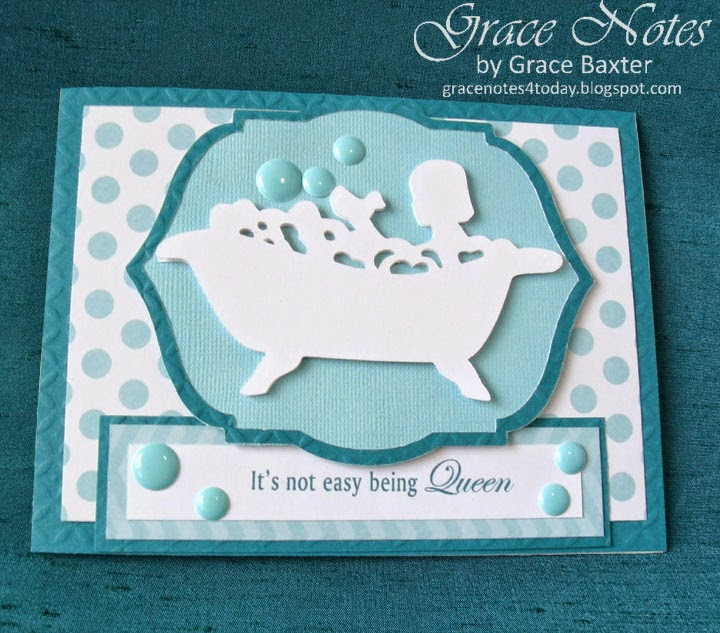 Tub Queen, congrats card front by Grace Baxter