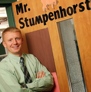 JoshStumpenhorst standing in front of his classroom