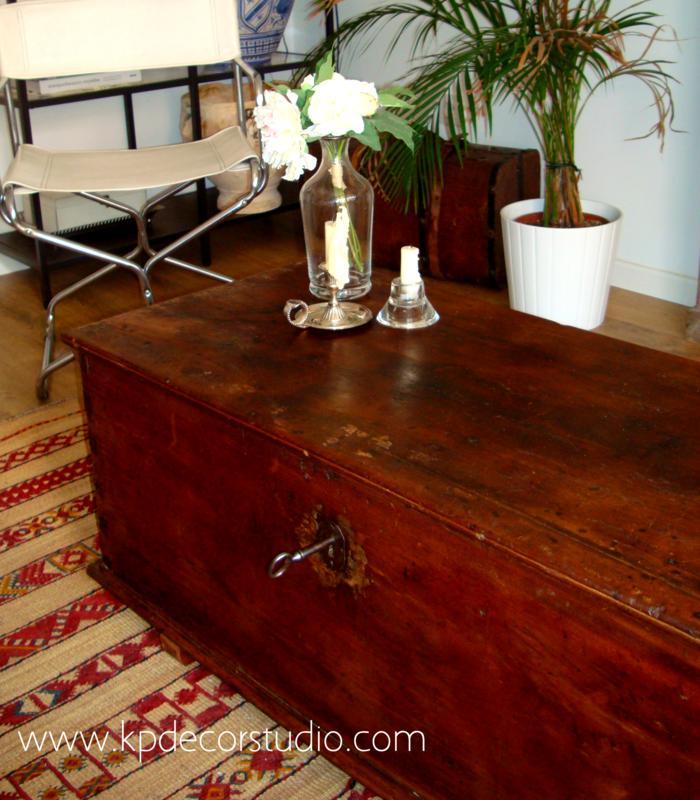 Kp tienda vintage online ba l de madera antiguo para mesa for Mesas de centro antiguas