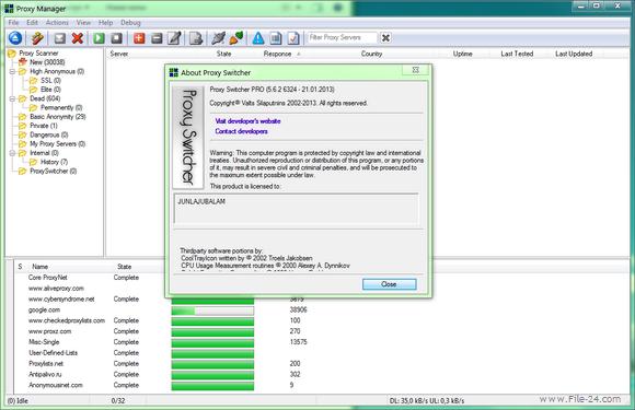 Скачать бесплатно Proxy Switcher Pro 5.5 + crack ключ - Прокси Свитчер
