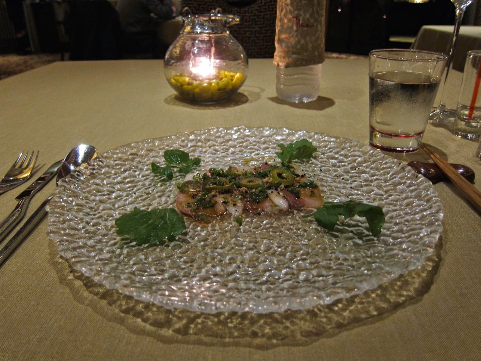 Yellowtail Carpaccio at Tian