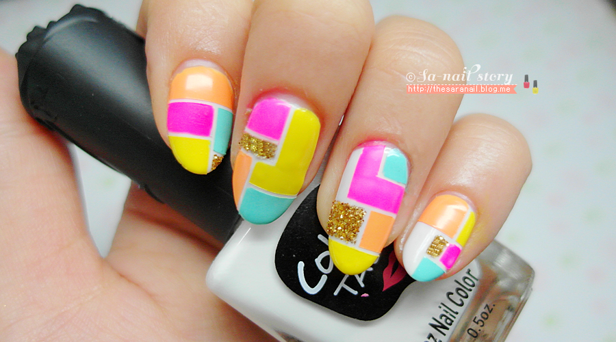 Line Art Nails : Sara nail colorful block line tape art for summer