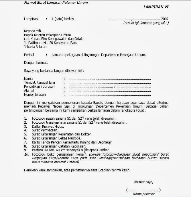 Surat Lamaran Kerja Cpns