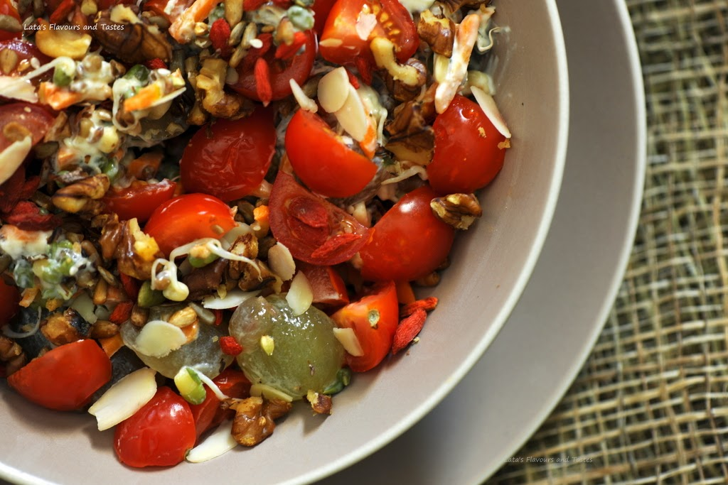 Flavours and Tastes: Sprouts and Vegetable Salad with Nuts