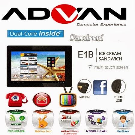 Advan Vandroid E1-B Tablet Android Dual GSM harga dibawah 1.5 juta