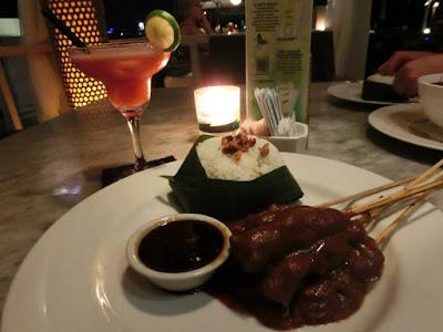 Indonesian chicken satay at Boardwalk Restaurant Kuta