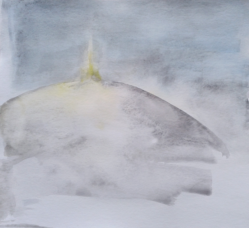 minimal landscape, watercolor painting, grey hill, nightscape, light, delicacy, minimalism