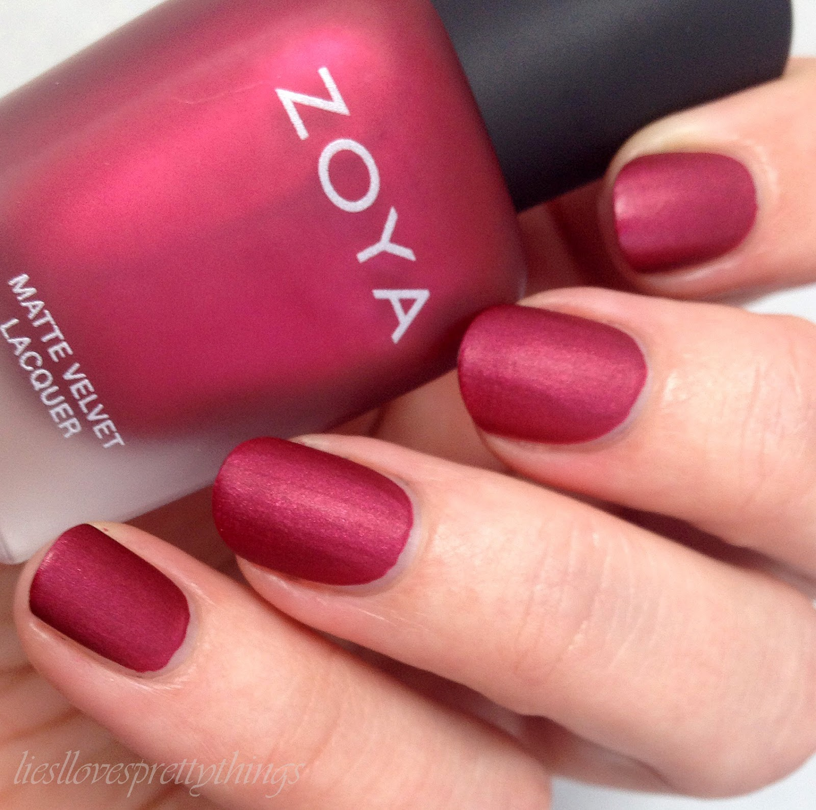 Liesl Loves Pretty Things Zoya Posh Matte Velvet Collection Cosmetics Lip Paint Pure Red Swatch And Review