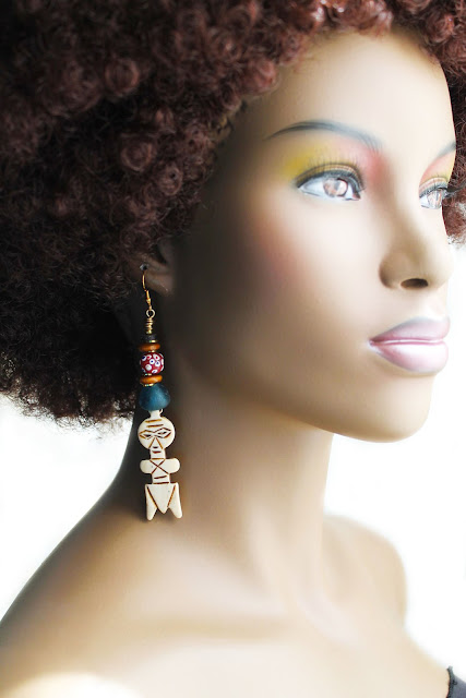 african carved bone akua doll earrings