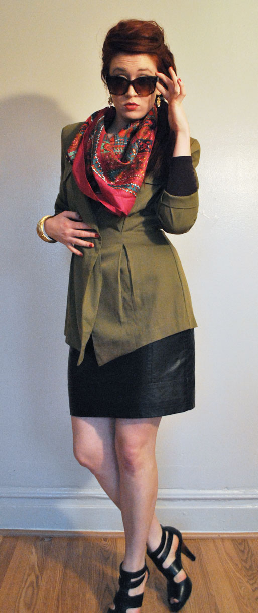 a style of your own blog, black leather pencil skirt, gold bangles, Banana Republic top