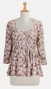 Pleat Front Rose Print Blouse