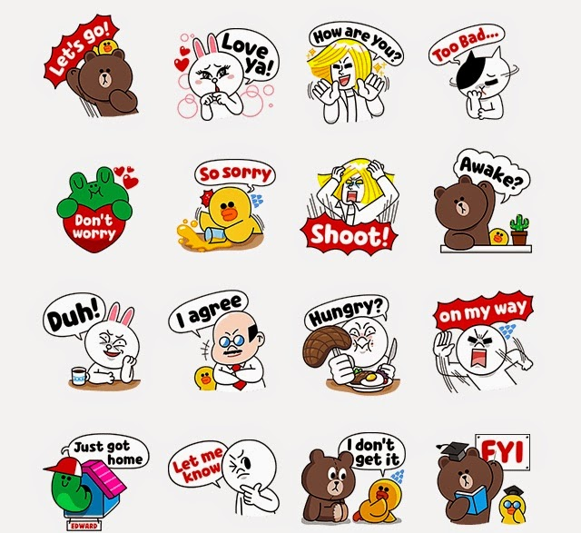 LINE Characters: Fun phrases