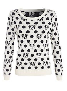 Black Polka Dot Dog Face Sweater Jumper Henry Holland