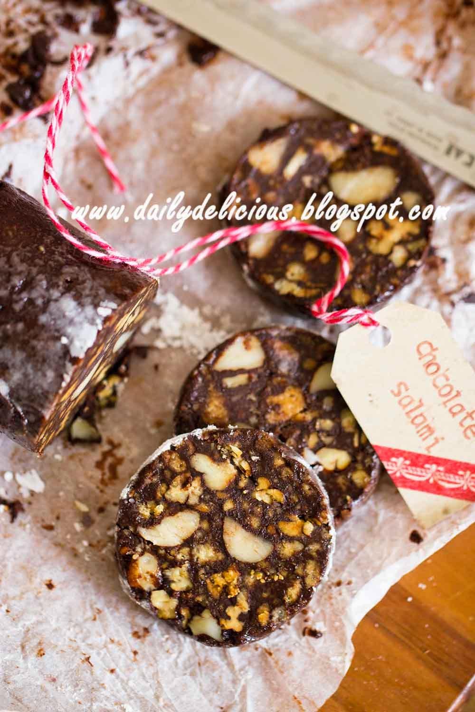 dailydelicious: Chocolate Salami: Easy chocolate treat