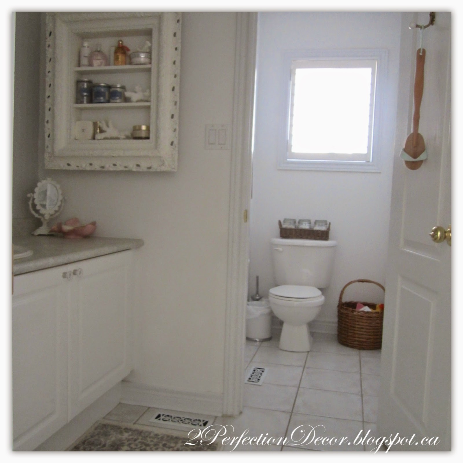 2perfection decor main bathroom reveal white grey for Main bathroom designs
