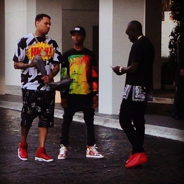Wizkid still chilling with Chris Brown (Photos)