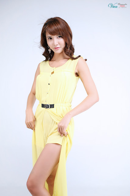 7 Cha Sun Hwa in Yellow-Very cute asian girl - girlcute4u.blogspot.com