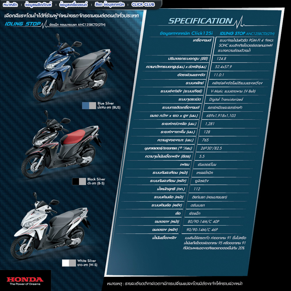 specifications 2012 click i blue silver 2012 click i black