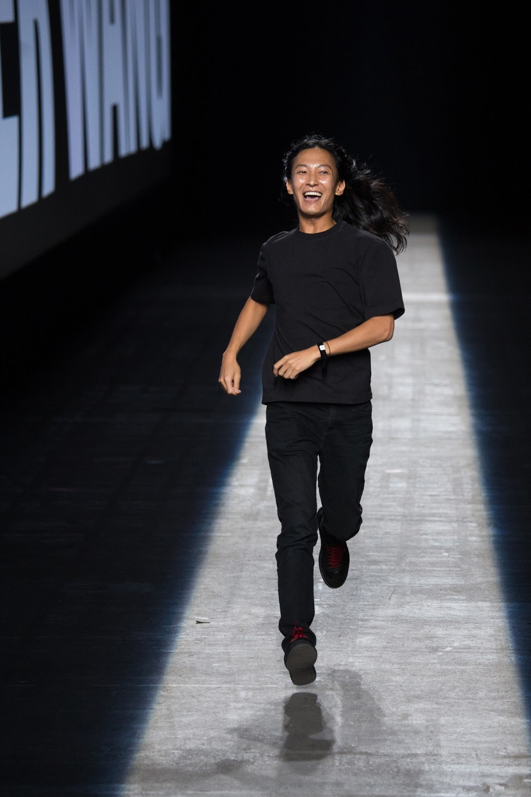 Wang's signature runway run, happy, designer