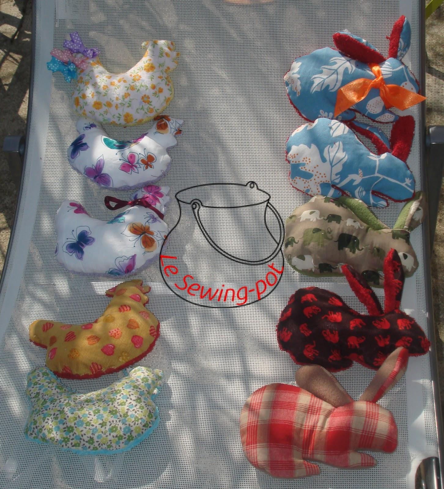 poules et lapins paques couture cadeau