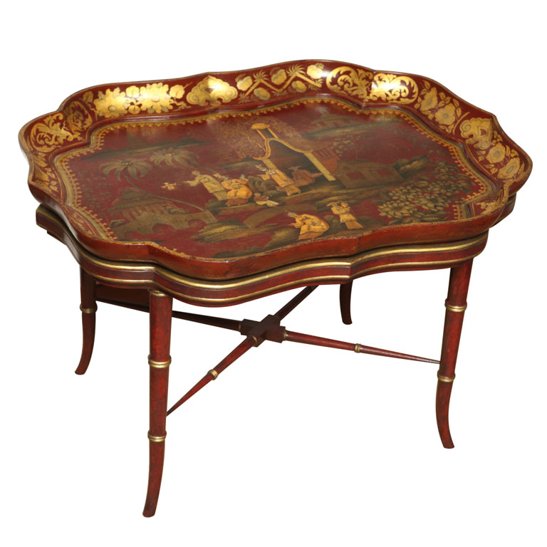 (Above U0026 Below) A Very Fine English Red Papier Mache Tray On Stand Circa  1840. Offered By; Http://www.philipcolleck.com/