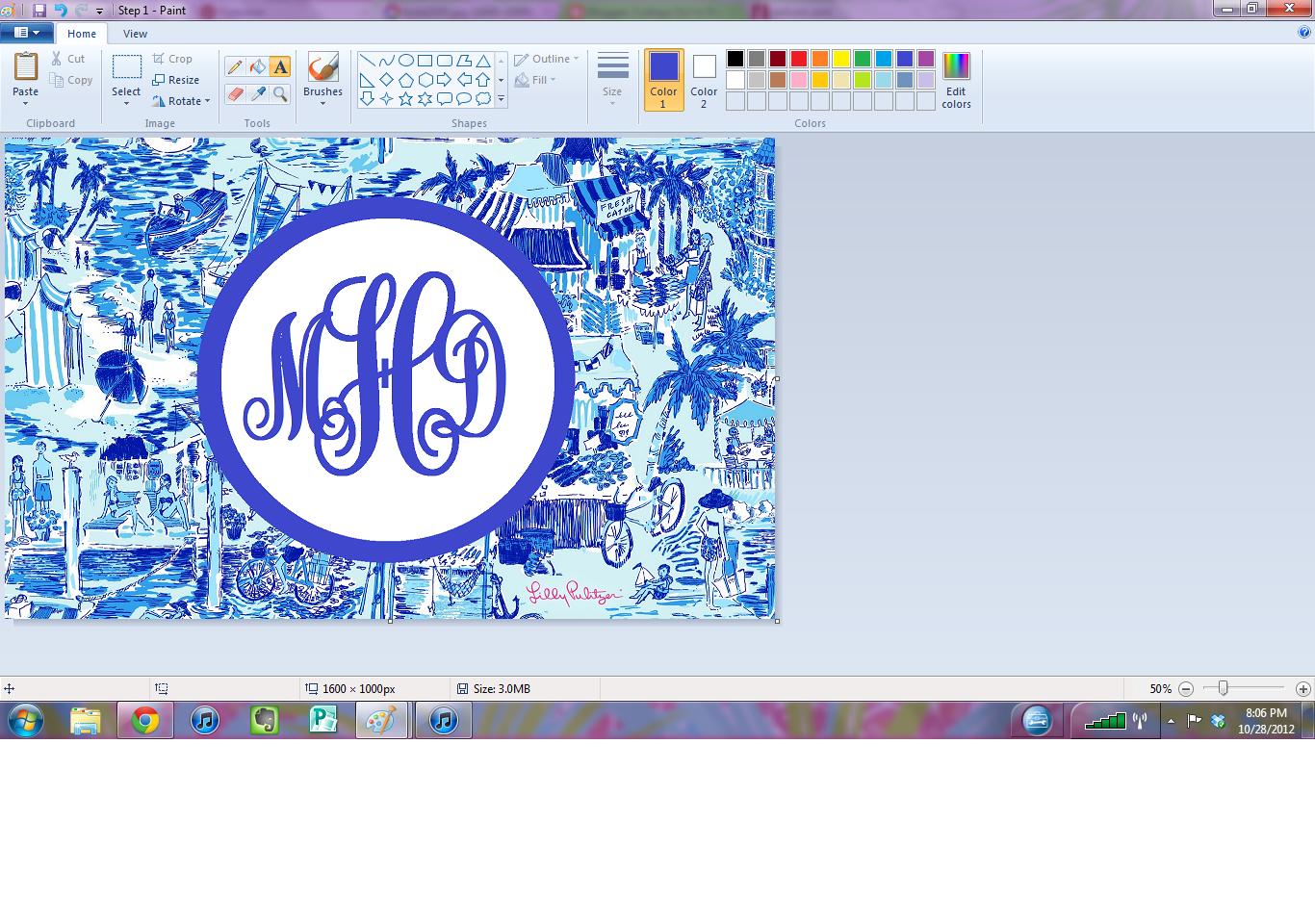 college girl in pearls  diy monogram desktop backgrounds   using microsoft paint