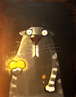 Cat holding shining heart in hand, making yourself and loving people better, funny pictures, comics, caricatures