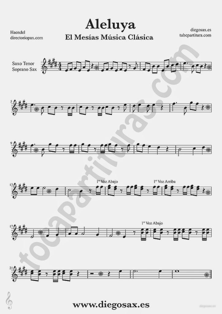 Tubepartitura Aleluya de Haendel partitura de Saxofón Tenor y Saxofón Soprano El Mesias