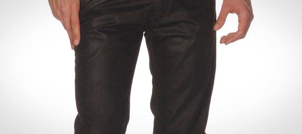Calca encerada na moda masculina outono/inverno