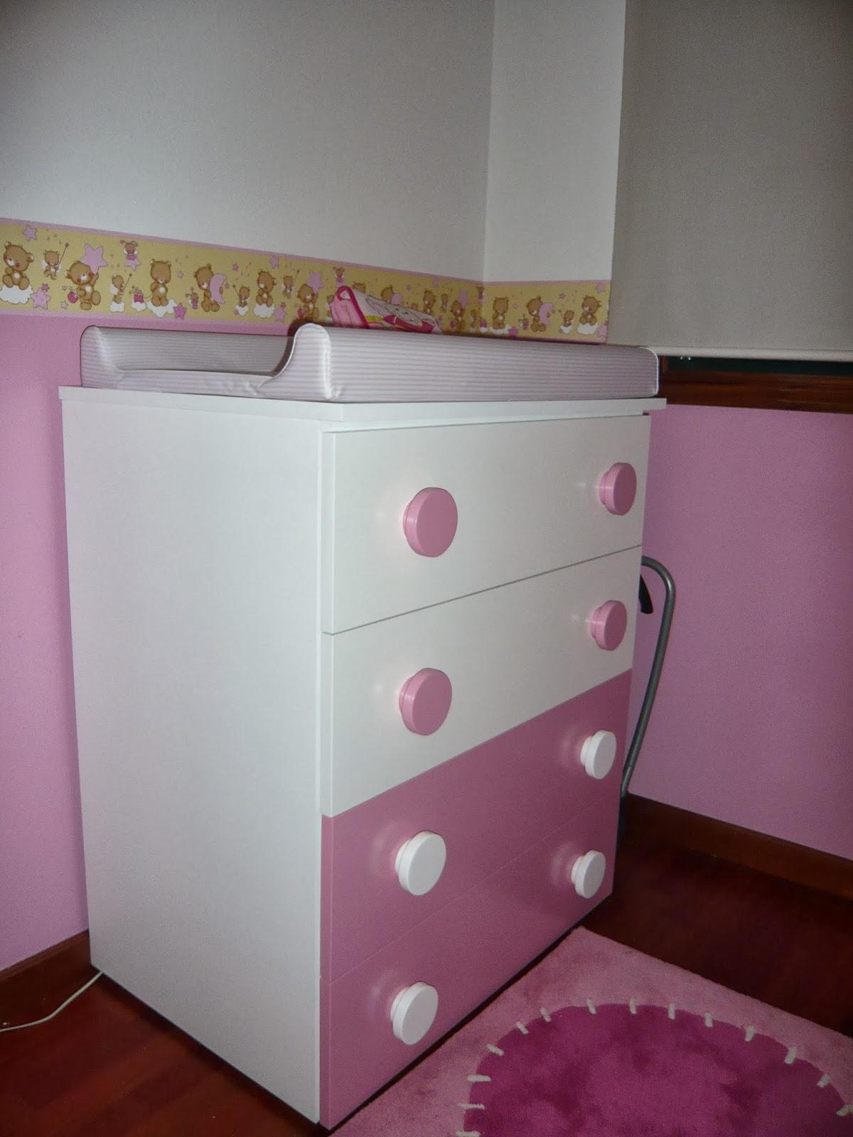 Mueble cambiador y armario infantil lacado blanco y rosa - Tiradores muebles bano ...