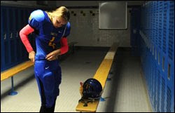 Meghan Cox Garota menina 16 anos joga futebol americano