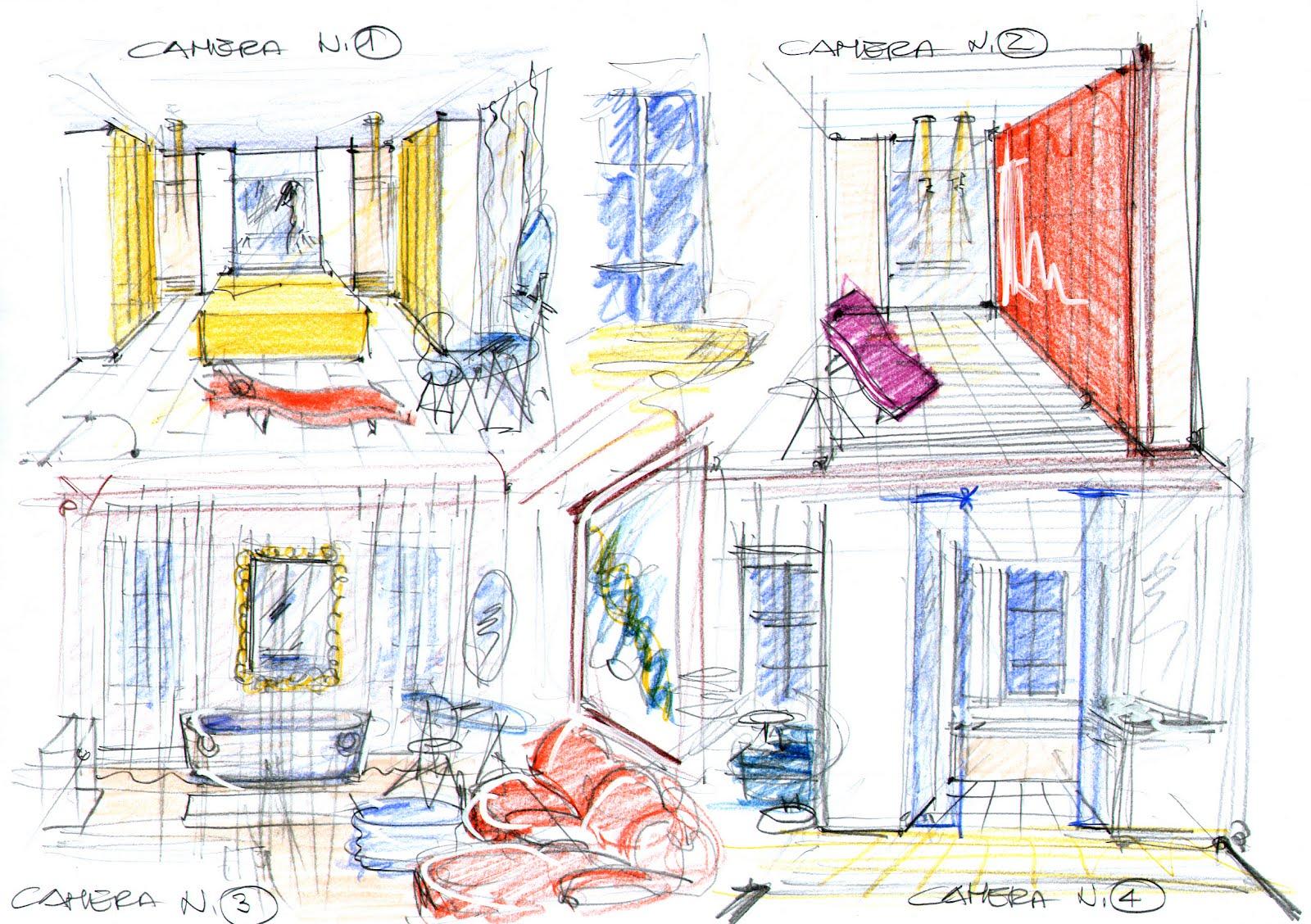 Vent 39 anni di disegni dell 39 arch antonio saporito schizzi for Camere albergo design