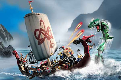 Brick build 585 Piece Lego 7018 midgard sea serpent monster Viking ship set heroic warrior battles