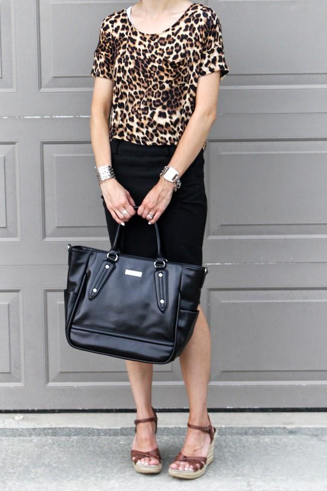 Leopard crop top, black pencil skirt, Lily Jade diaper bag
