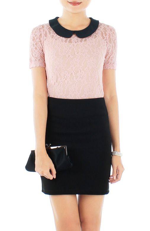 Light Pink Mesh & Lace Overlay Blouse with Button Back Detail