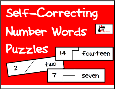 Free download - number words self correcting puzzle from Raki's Rad Resources.