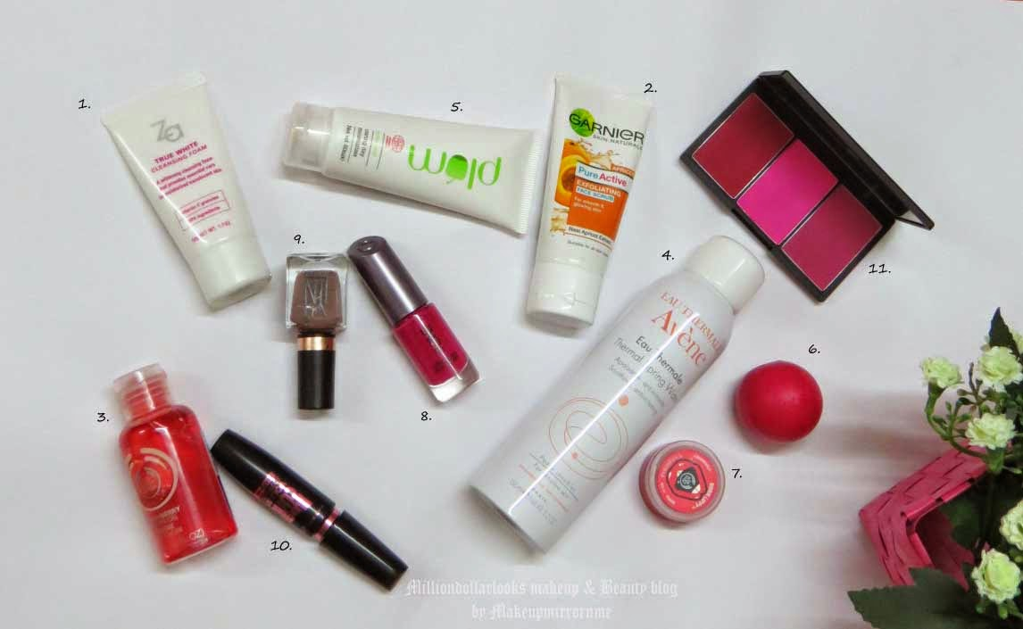 Monthly Beauty Favorites: March 2015 Edition, Indian makeup and beauty blog, Indian makeup blog, Indian beauty blog, Avene thermal spring water, The body shop strawberry shower gel, Nail polish, Oriflame the one long wear nail polish, Za face wash, EOS lip balm, Makeup favorites, Skincare favorites